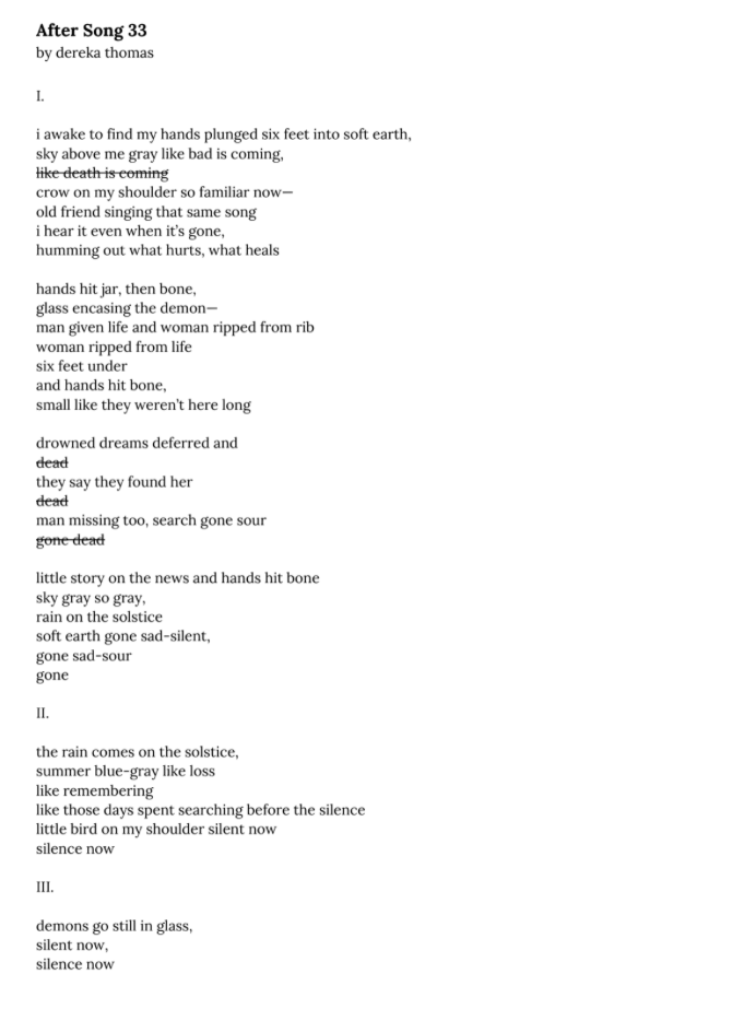 Title: After Song 33  poem: I. i awake to find my hands plunged six feet into soft earth, sky above me gray like bad is coming, like death is coming crow on my shoulder so familiar now— old friend singing that same song i hear it even when it's gone, humming out what hurts, what heals hands hit jar, then bone, glass encasing the demon— man given life and woman ripped from rib woman ripped from life six feet under and hands hit bone, small like they weren't here long drowned dreams deferred and dead they say they found her dead man missing too, search gone sour gone dead little story on the news and hands hit bone sky gray so gray, rain on the solstice soft earth gone sad-silent, gone sad-sour gone II. the rain comes on the solstice, summer blue-gray like loss like remembering like those days spent searching before the silence little bird on my shoulder silent now silence now III. demons go still in glass, silent now, silence now